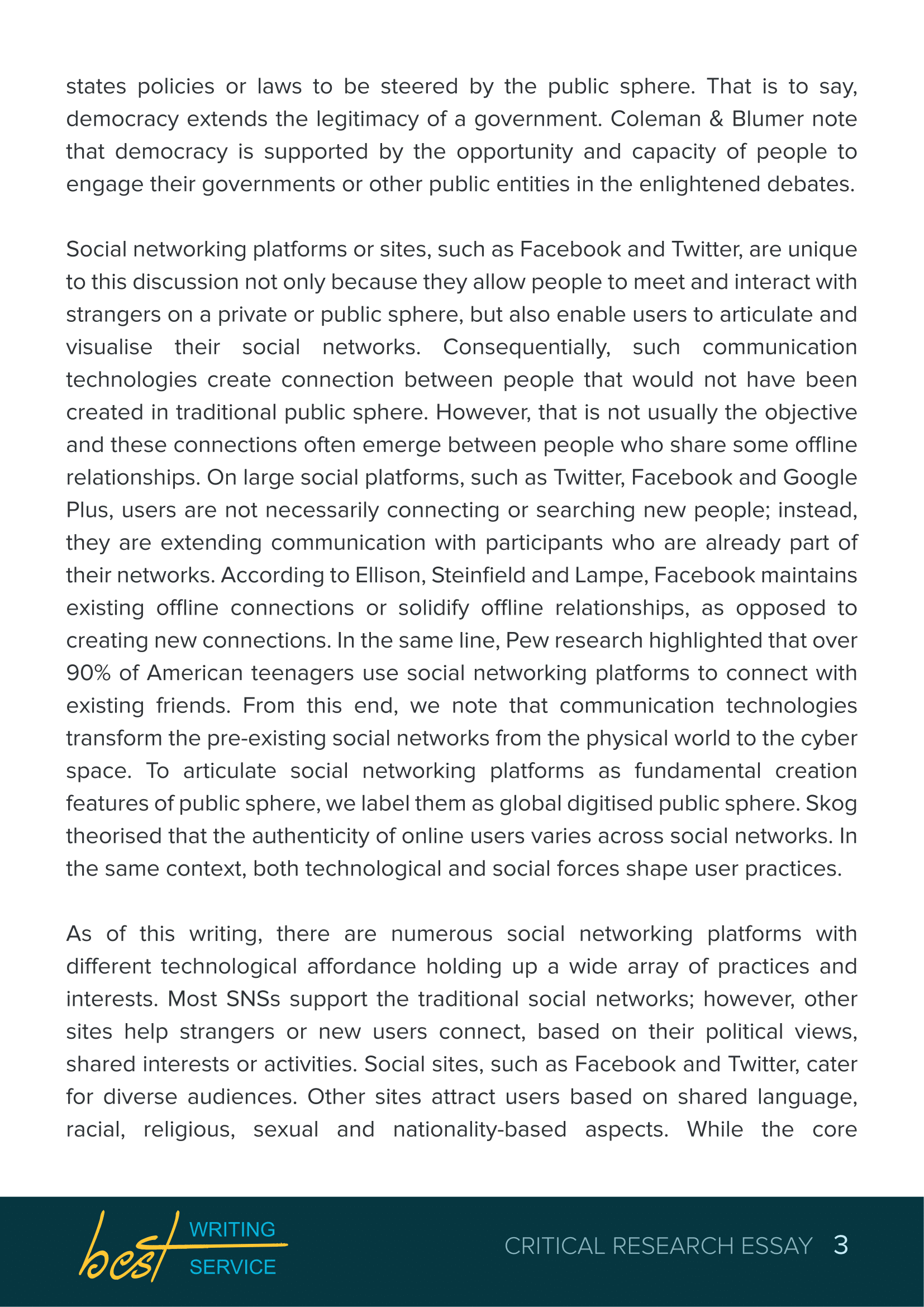 A critique essay